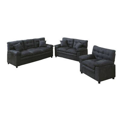 Kingsport 3 Piece Living Room Set Upholstery: Ash
