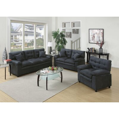 Kingston 3 Piece Living Room Set Upholstery: Ash