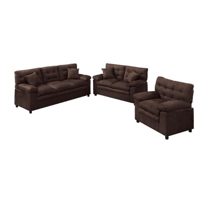 Kingsport 3 Piece Living Room Set Upholstery: Chocolate