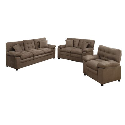 Kingsport 3 Piece Living Room Set Upholstery: Dark Brown