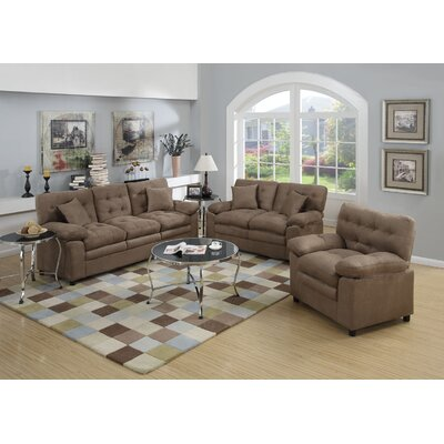 Kingston 3 Piece Living Room Set Upholstery: Dark Brown