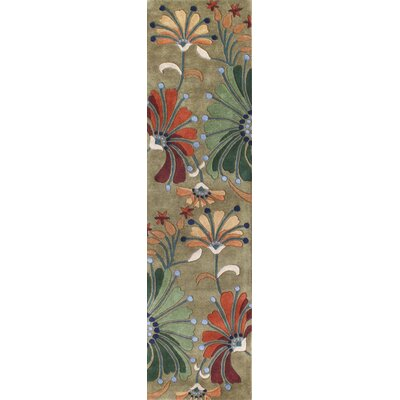 Kipton Hand-Tufted Green/Tan Area Rug Rug Size: Runner 2 x 8
