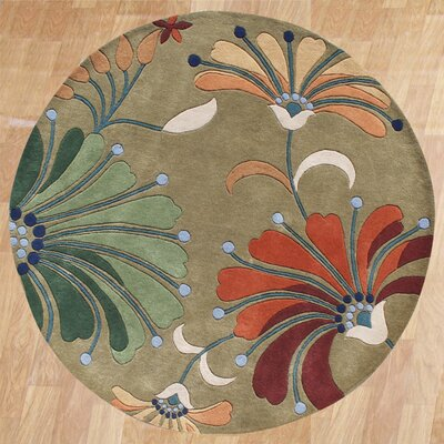 Kipton Hand-Tufted Green/Tan Area Rug Rug Size: Round 6