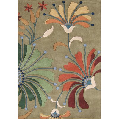 Kipton Hand-Tufted Green/Tan Area Rug Rug Size: 9 x 12