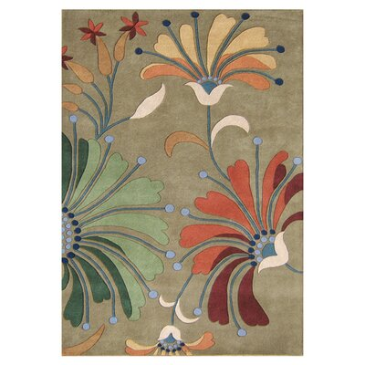 Kipton Hand-Tufted Green/Tan Area Rug Rug Size: 5 x 8