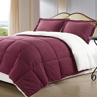 Lancaster 3 Piece Comforter Set Size: Twin, Color: Burgundy