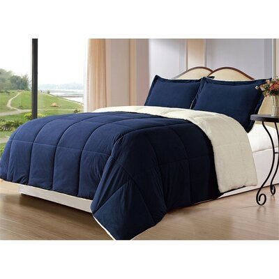Lancaster 3 Piece Comforter Set Size: King/Cal King, Color: Navy Blue