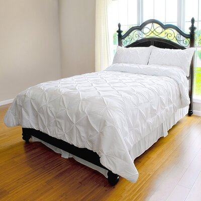Landen Pinch Pleat Duvet Cover Set Color: White, Size: Full/Queen
