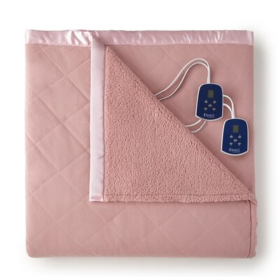Langport Sherpa Heated Blanket Size: Queen, Color: Frosted Rose