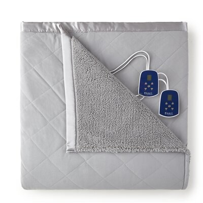 Langport Sherpa Heated Blanket Color: Graystone, Size: Twin