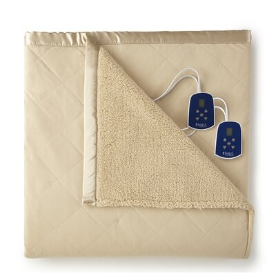Langport Sherpa Heated Blanket Color: Chino, Size: Full