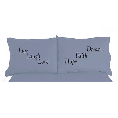 Langport Live Laugh Love Inspirational Novelty Print Pillowcase Pair