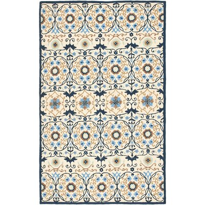 Marquardt Ivory/Navy Area Rug Rug Size: Rectangle 79 x 99