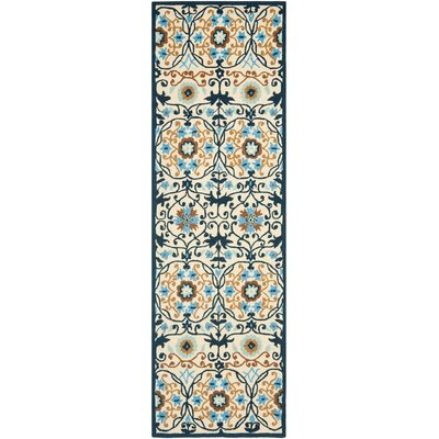 Marquardt Ivory/Navy Area Rug Rug Size: Runner 26 x 8