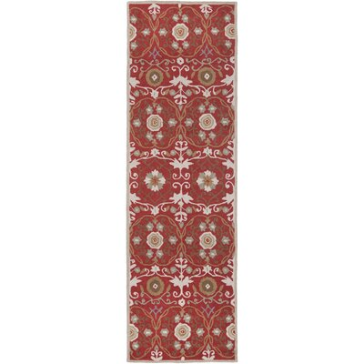 Marquardt Red/Ivory Floral Area Rug Rug Size: Runner 26 x 8