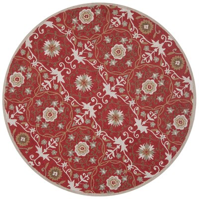 Marquardt Red/Ivory Floral Area Rug Rug Size: Round 56