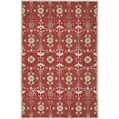 Marquardt Red/Ivory Floral Area Rug Rug Size: Rectangle 53 x 83