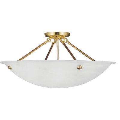 Everett 4-Light Semi Flush Mount Finish: Polished Brass
