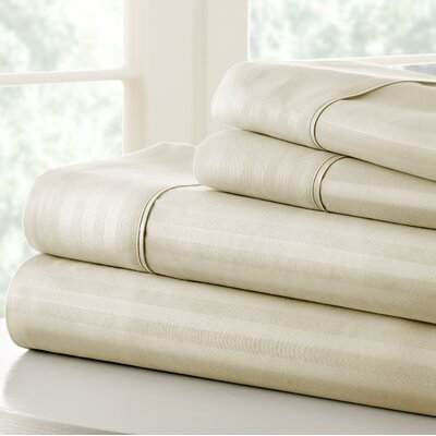 Anson Double-Brushed Dobby Stripe Sheet Set Color: Cream, Size: Queen