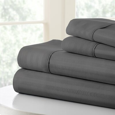 Anson Double-Brushed Dobby Stripe Sheet Set Color: Gray, Size: Queen