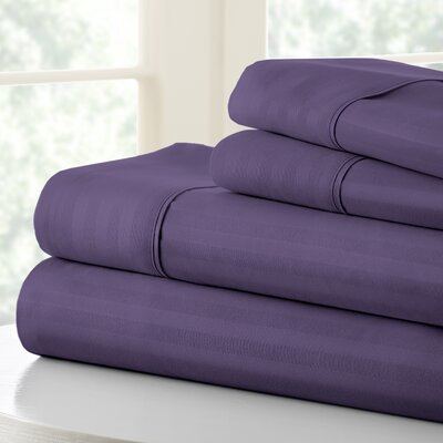 Anson Double-Brushed Dobby Stripe Sheet Set Color: Purple, Size: Twin