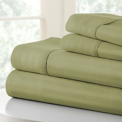 Anson Double-Brushed Dobby Stripe Sheet Set Color: Sage, Size: Twin