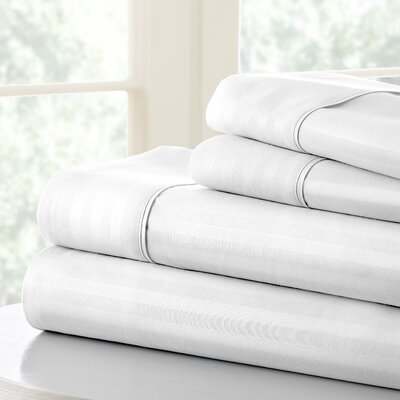 Anson Double-Brushed Dobby Stripe Sheet Set Size: Full, Color: White