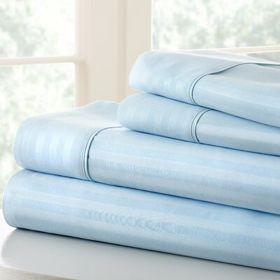 Anson Double-Brushed Dobby Stripe Sheet Set Color: Aqua, Size: King