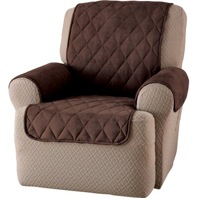 Faux Suede T-Cushion Recliner Slipcover Upholstery: Chocolate