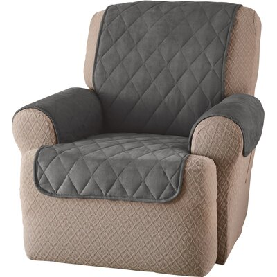Faux Suede T-Cushion Recliner Slipcover Upholstery: Gray