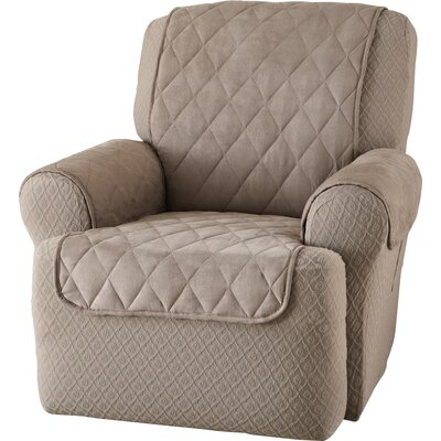 Faux Suede T-Cushion Recliner Slipcover Upholstery: Natural