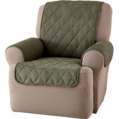 Faux Suede Furniture Recliner Slipcover Upholstery: Sage