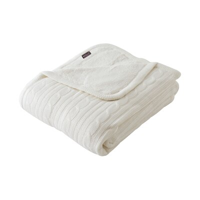 Cozy Cable Knit Throw Blanket Color: Ivory