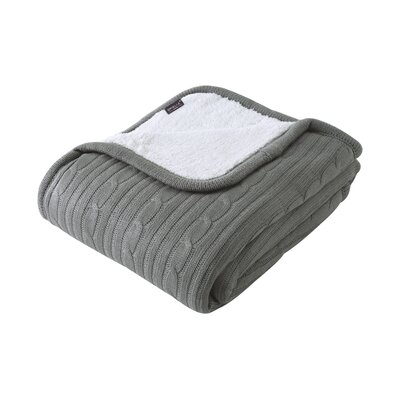 Cozy Cable Knit Throw Blanket Color: Grey