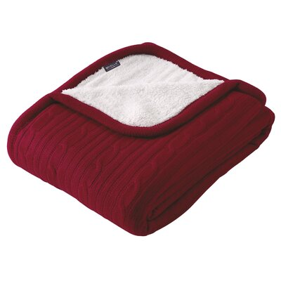 Cozy Cable Knit Throw Blanket Color: Red