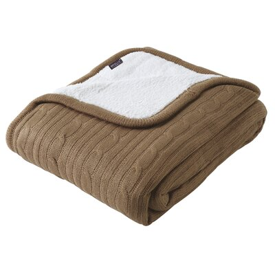 Cozy Cable Knit Throw Blanket Color: Taupe