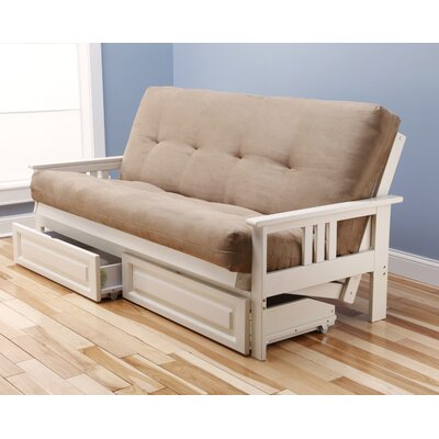 Leavittsburg Futon and Mattress Frame Finish: Antique White, Mattress Color: Peat