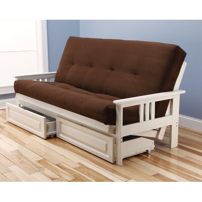 Leavittsburg Futon and Mattress Frame Finish: Antique White, Mattress Color: Chocolate
