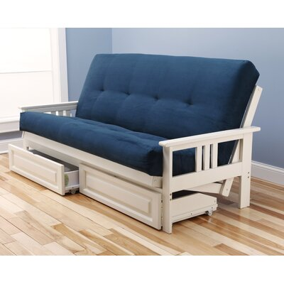 Leavittsburg Futon and Mattress Frame Finish: Antique White, Mattress Color: Navy