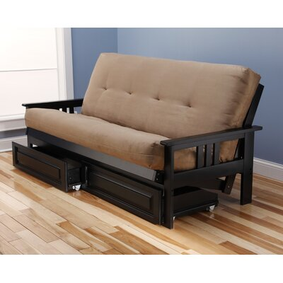 Leavittsburg Futon and Mattress Frame Finish: Black, Mattress Color: Peat