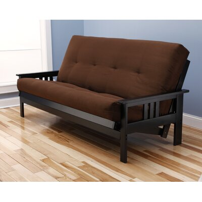 Leavittsburg Suede Futon and Mattress Mattress Color: Chocolate, Frame Finish: Black