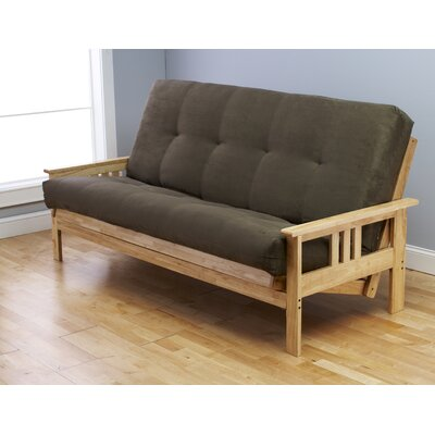 Leavittsburg Suede Futon and Mattress Mattress Color: Olive, Frame Finish: Natural