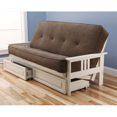 Leavittsburg Futon and Mattress Frame Finish: Antique White, Mattress Color: Mocha