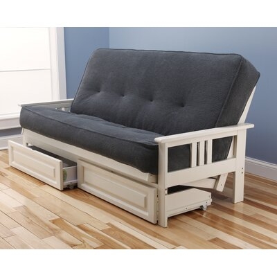 Leavittsburg Futon and Mattress Frame Finish: Antique White, Mattress Color: Thunder
