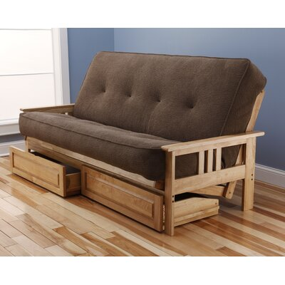 Red Barrel Studio Leavittsburg Futon and Mattress Frame Finish: Natural, Mattress Color: Mocha