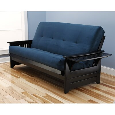 Lebanon Suede Futon and Mattress Frame Finish: Black, Mattress Color: Navy