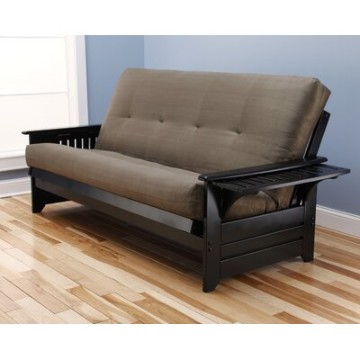 Lebanon Suede Futon and Mattress Frame Finish: Black, Mattress Color: Olive