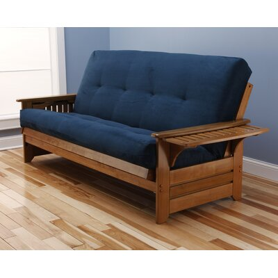 Lebanon Suede Futon and Mattress Frame Finish: Butternut, Mattress Color: Navy