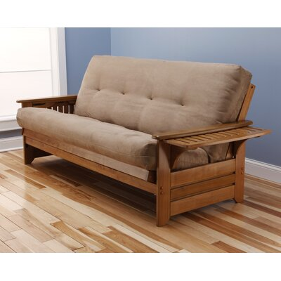 Lebanon Suede Futon and Mattress Frame Finish: Butternut, Mattress Color: Peat