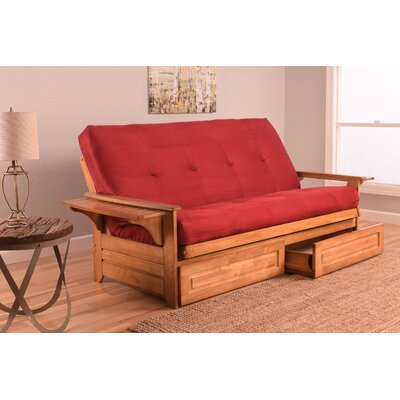Lebanon Futon and Mattress Frame Finish: Natural, Mattress Color: Red